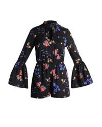 New Look Ditsy Choker Neck Jumpsuit Black Pattern