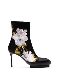 Ann Demeulemeester Black Floral 100 Satin Boots