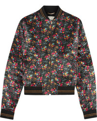 Saint Laurent Floral Print Satin Bomber Jacket Black