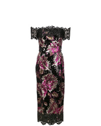 Marchesa Notte Sequin Fitted Dress