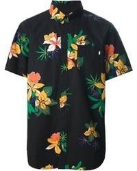 Black Floral Short Sleeve Shirt