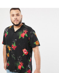 ASOS DESIGN Plus Regular Fit Floral Shirt In Black