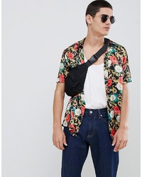 ASOS DESIGN Regular Fit Floral Chain Print Shirt In Satin
