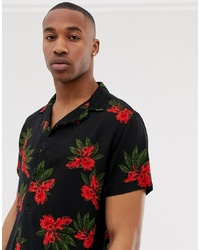 New Look Revere Collar Shirt In Red Floral Print