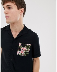 Burton Menswear Shirt With Contrast Pocket In Black