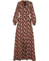 Vilshenko Anais Floral Print Silk Georgette Maxi Dress Black