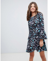 closet london Flute Sleeve Printed Skater Dress