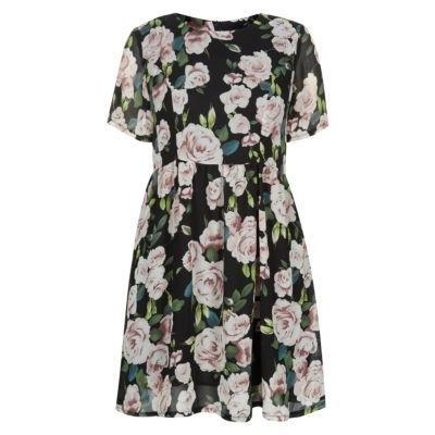 26db96a8ac Exclusives New Look Black Short Sleeve Floral Print Skater Dress ...