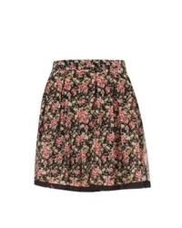 New Look Petite Black Floral Print Lace Trim Skater Skirt