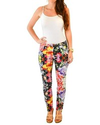 Black Floral Skinny Pants