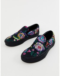 Vans Classic Slip On Black Floral Satin Trainers