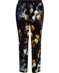 Black Floral Sweatpants