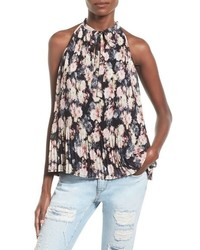 Leith Floral Pleat Tie Neck Tank