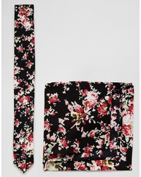 Asos Brand Tie And Pocket Square Pack In Floral Design