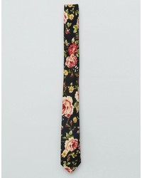 Asos Slim Tie In Dark Floral