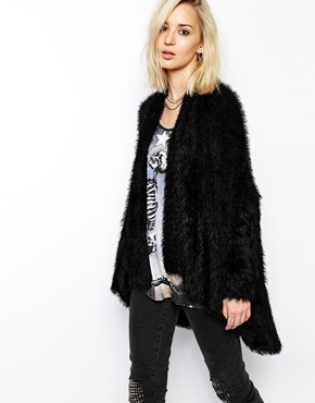 Religion Oversized Fluffy Longline Cardigan Jet Black | Where to ...