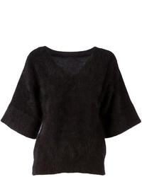 Black Fluffy V-neck Sweater