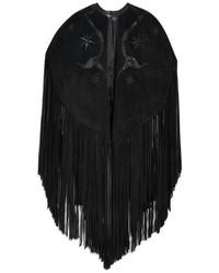Black Fringe Cape Coat