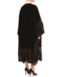 Valentino Fringe Trimmed Suede Cape