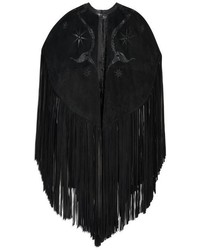 Emilio Pucci Fringed Suede And Snakeskin Cape