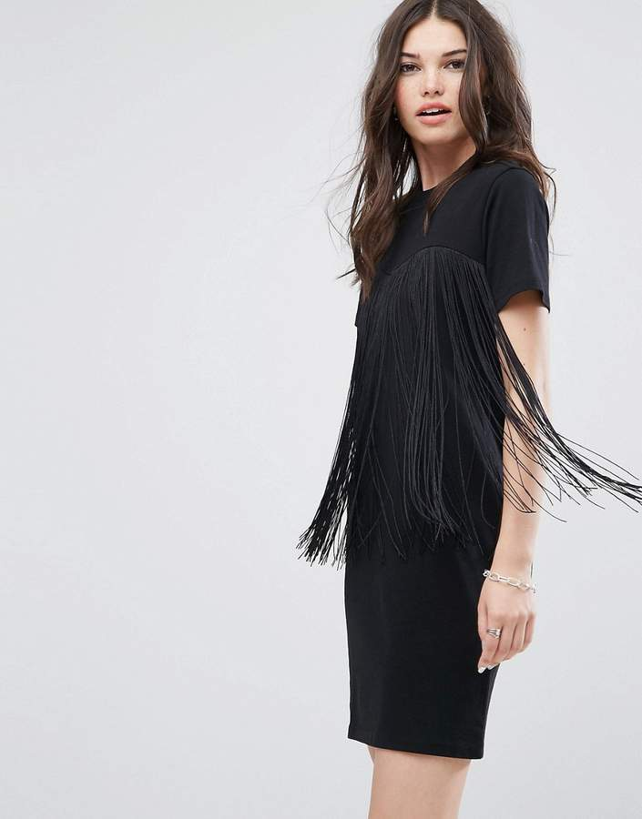 03e294f5dfe0 ... Black Fringe Casual Dresses Asos Mini T Shirt Dress With Fringing ...