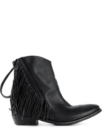 Black Fringe Leather Ankle Boots