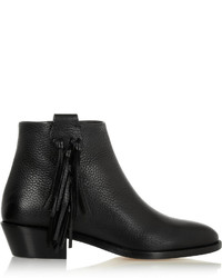 Valentino Fringed Textured Leather Ankle Boots