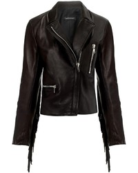 Black Fringe Leather Biker Jacket