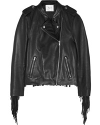 Maje Bombay Fringed Leather Biker Jacket