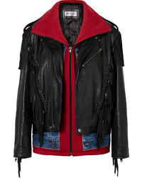 Balenciaga Layered Fringed Leather Denim And Jersey Biker Jacket