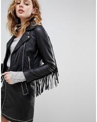 Goosecraft Leather Festival Biker Jacket With Fringing