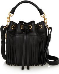 Black Fringe Leather Bucket Bag