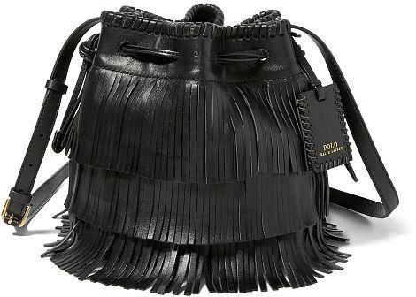 Polo Ralph Lauren Fringe Leather Mini Bucket Bag 82e694b9362f9