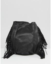 Mango Leather Fringed Bucket Bag