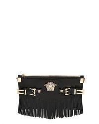 Black Fringe Leather Clutch