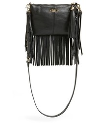 Black Fringe Leather Crossbody Bag