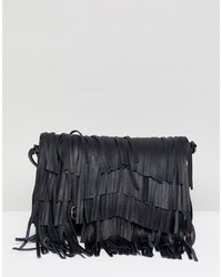 Urbancode Leather Cross Body Bag With Detachable Fringing