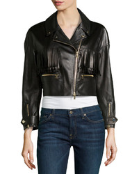 Black Fringe Leather Jacket