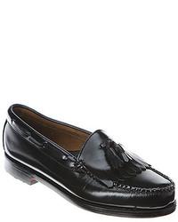 Black Fringe Leather Loafers