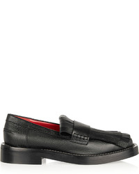 Black Fringe Leather Loafers