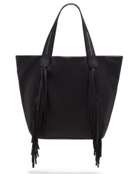 Black Fringe Leather Tote Bag