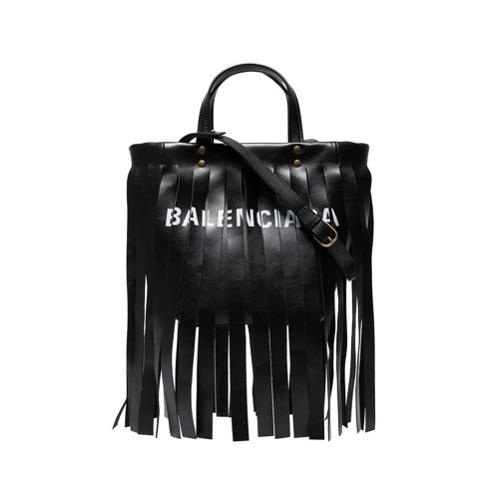 67486c093 Balenciaga Black Fringed Logo Leather Tote, £1,479 | farfetch.com ...
