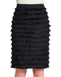 Black Fringe Pencil Skirt