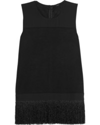 J.Crew Fringed Jersey And Crepe Top
