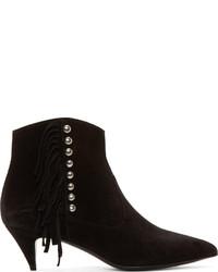 Black Fringe Suede Ankle Boots