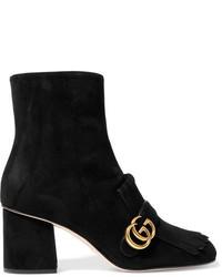 Gucci Fringed Logo Embellished Suede Ankle Boots Black
