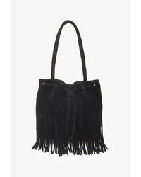 Black Fringe Suede Bucket Bag