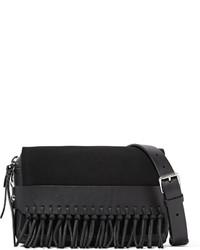 Black Fringe Suede Clutch