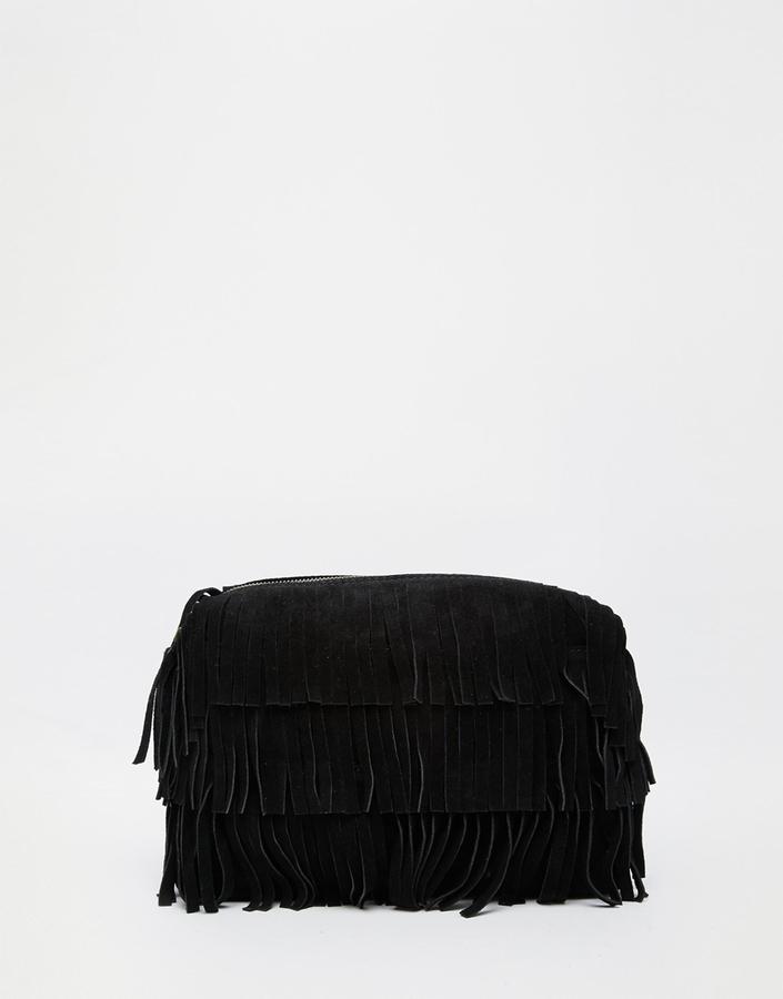 Asos Collection Suede Fringe Clutch Bag