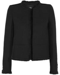 Maje Fringed Boucl Tweed Jacket Black